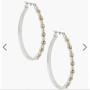 NEW silver and gold oval hoop earrings